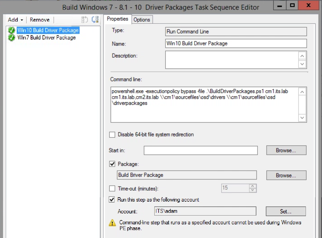 Building Configuration Manager Driver Packages for Windows 7 with